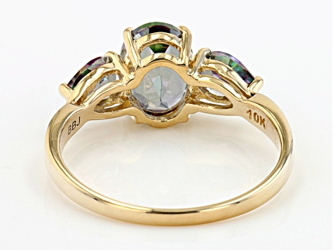 Mystic Fire™ Green Topaz 10k Yellow Gold Ring 2.07ctw