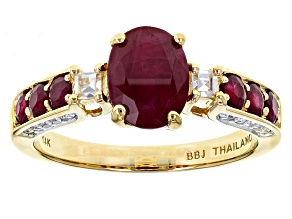 Red Burmese Ruby 14k Yellow Gold Ring 2.04ctw