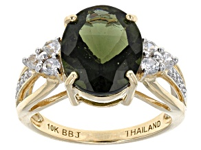 Green Moldavite 10k Yellow Gold Ring 3.44ctw