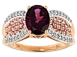 Purple Garnet 10k Rose Gold Ring 2.42ctw