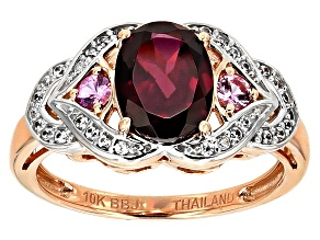 Grape Color Garnet 10k Rose Gold 10k Rose Gold Ring 2.10ctw