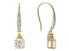 Fabulite Strontium Tianate, White Zircon and Yellow Diamond 10k Yellow Gold Earrings 2.90ctw