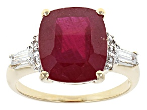 Mahaleo Ruby 10k Yellow Gold Ring 5.88ctw