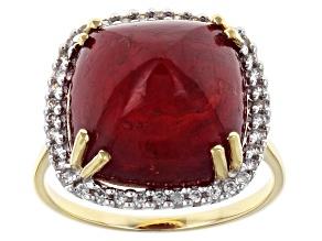 Mahaleo Ruby 10k Yellow Gold Ring 14.20ctw