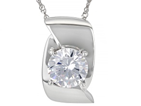 White Cubic Zirconia Rhodium Over Sterling Silver Pendant With Chain 7.70ctw