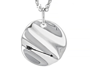 """Rhodium Over Sterling Silver """"Warrior"""" Pendant With Chain"""