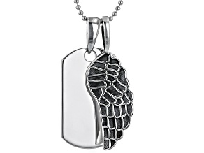 Rhodium Over Sterling Silver Dog Tag And Angel Wing Pendant With Chain