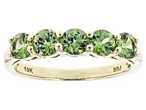 Green Demantoid 10k Yellow Gold Band Ring 1.10ctw