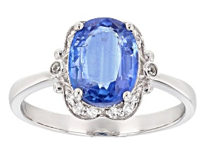 Blue Nepalese Kyanite 10k White Gold Ring 3.16ctw