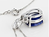 Blue Kyanite 10k White Gold Pandant With Chain 2.62ctw