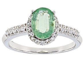 Green Kyanite Rhodium Over 10k White Gold Ring 1.47ctw