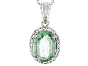 Green Mint Kyanite 10k White Gold Pendant With Chain 1.25ctw
