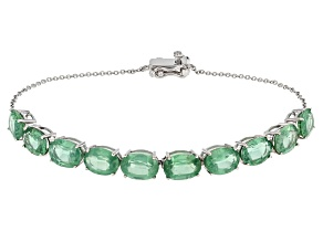 Green Mint Kyanite Rhodium Over 10k White Gold Bracelet 12.04ctw