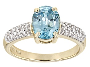 Blue Zircon 10k Yellow Gold Ring 2.23ctw