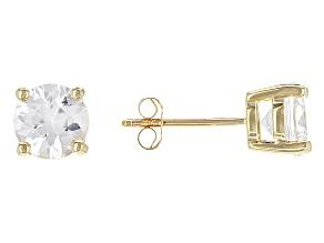 White Zircon 10k Yellow Gold Stud Earrings 2.28ctw