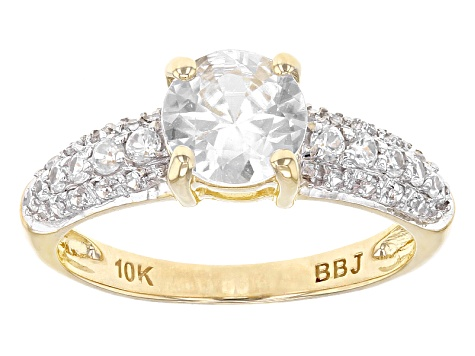 White Zircon 10k Yellow Gold Ring 1.76ctw