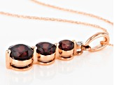 Red Zircon 10k Rose Gold Pendant With Chain 1.88ctw