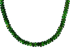 Green Chrome Diopside 14k Yellow Gold Bead Necklace 50.00ctw