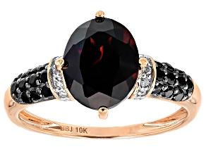 Red Zircon 10k Rose Gold Ring 3.28ctw