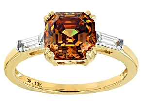 Champagne Fabulite Strontium Titanate And White Zircon 10k Yellow Gold Ring 3.79ctw