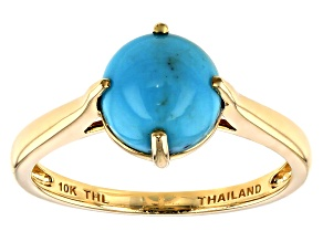 Blue Sleeping Beauty Turquoise 10k Yellow Gold Solitaire Ring