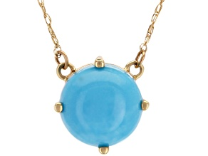 Blue Sleeping Beauty Turquoise 10k Gold Solitaire Necklace