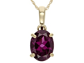 Grape Color Garnet 10k Yellow Gold Pendant 1.28ct