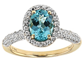 Blue Paraiba Color Apatite 10k Yellow Gold Ring 1.70ctw