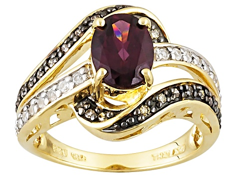 Grape Color Garnet 10k Yellow Gold Ring 1.49ctw