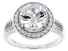 White Danburite, White Zircon And Blue Diamond 10k White Gold Ring 2.63ctw