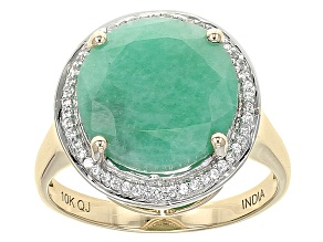 Green Emerald 10k Yellow Gold Ring 5.62ctw