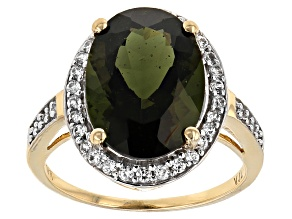 Green Moldavite 10k Yellow Gold Ring 5.16ctw