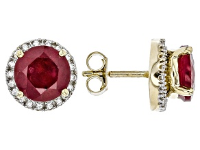 Mahaleo Ruby 10k Yellow Gold Earrings With Jackets 3.22ctw