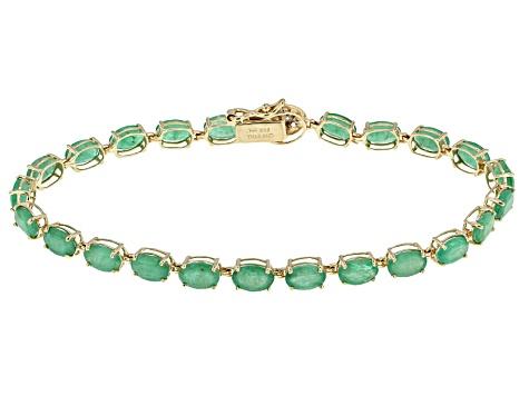 Green Emerald 14k Yellow Gold Bracelet 8 66ctw