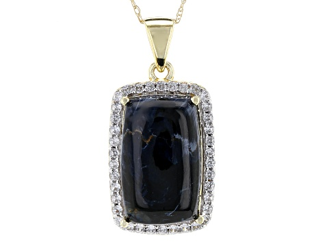 Blue Pietersite 10k Yellow Gold Pendant With Chain .29ctw
