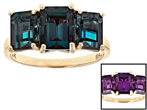 Blue Lab Created Alexandrite 10k Yellow Gold Ring 3.92ctw