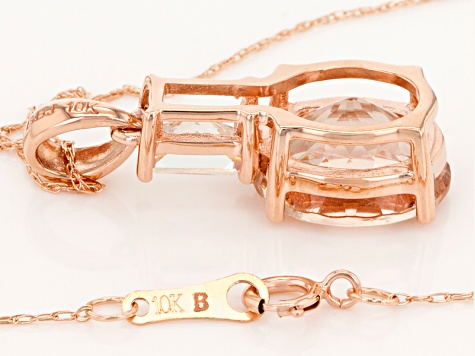 Pink Morganite 10k Rose Gold Pendant With Chain 3.28ctw