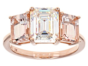 White Fabulite Strontium Titatnate And Cor-De-Rosa Morganite™ 10k Rose Gold Ring 4.63ctw