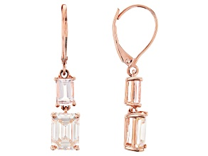 White Fabulite Strontium Titanate And Cor-De-Rosa Morganite™ 10k Rose Gold Earrings 4.76ctw
