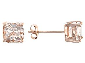 Pink Morganite 10k Rose Gold Stud Earrings 1.39ctw