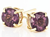 Purple Spinel 10k Yellow Gold Stud Earrings 1.85ctw