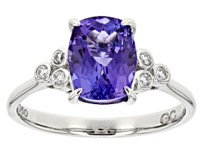 Blue tanzanite platinum ring 2.33ctw