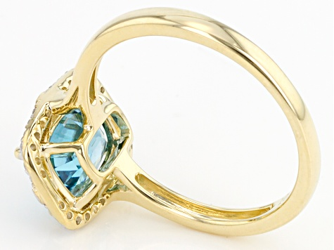 Blue Zircon 10k Yellow Gold Ring 3.07ctw