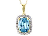 Blue Zircon 10k Yellow Gold Pendant With Chain 3.07ctw