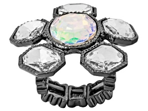 Iridescent Crystal Gunmetal Tone Stretch Ring