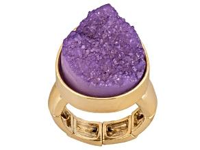 Simulant Amethyst Gold Tone Stretch Ring