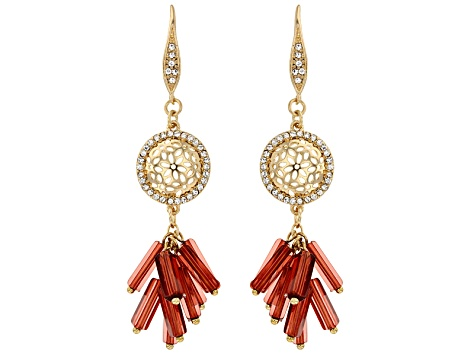 Simulant Carnelian Gold Tone Dangle Earrings