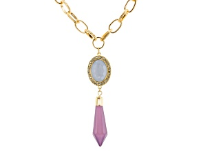 Purple Glass Purple Resin Gold Tone Necklace