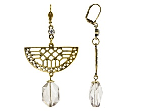 Gray Glass Bead Antiqued Gold Tone Dangle Earrings
