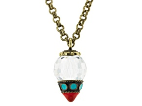 White Crystal Simulant Coral Simulant Turquoise Antiqued Gold Tone Necklace